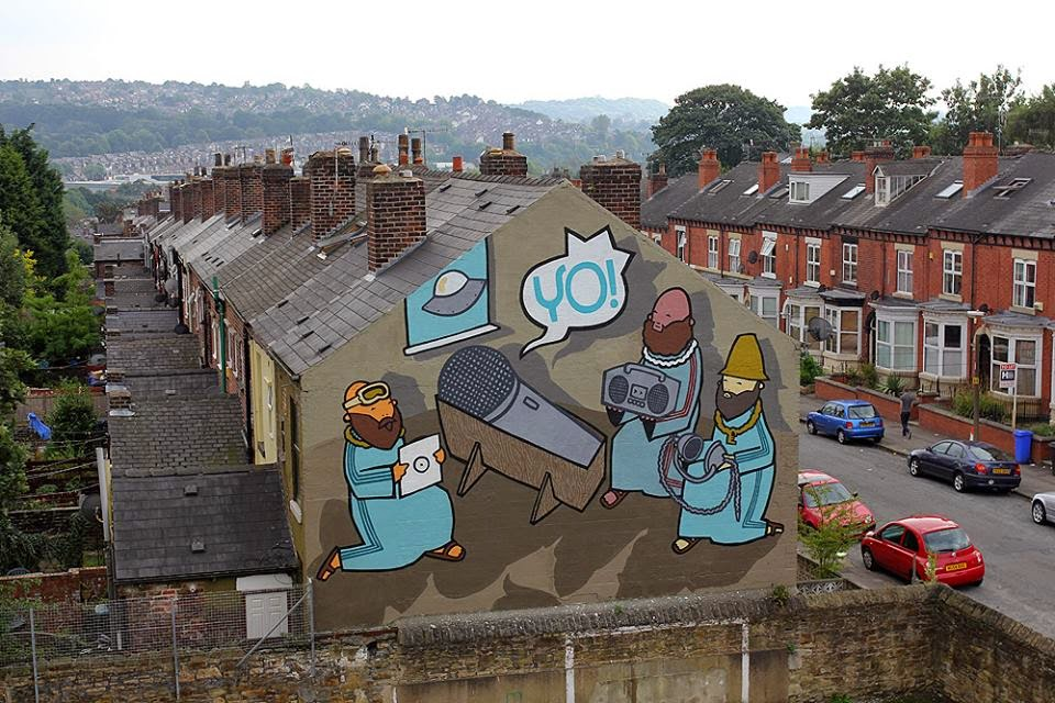 Artist and illustrator Kid Acne recently finished this great mural somewhere on the streets of Sheffield, for their Festival Of Mind. British artist teamed up with Dr Katie Edwards, School of English, to create some works exploring the Bible's influence on street art.