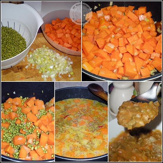 Zuppa di zucca, azuki verdi e farro