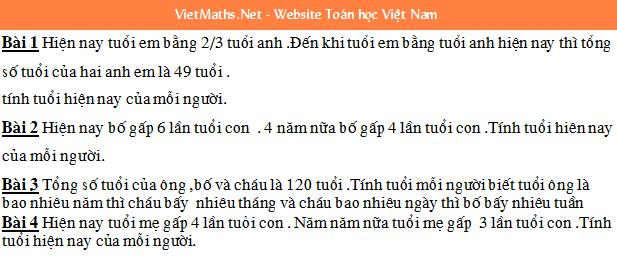 cac dang bai toan on thi hoc sinh gioi toan lop 4 nam 2016