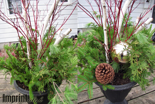 Outdoor Christmas Urns http://imprintalish.blogspot.com/2011/11/around-house-outdoor-christmas-urns.html