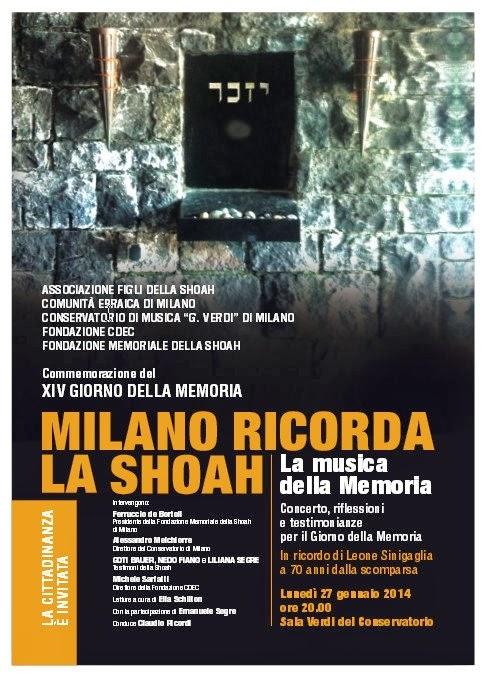 Milano ricorda la Shoah, eventi domenica 26 gennaio e lunedì 27 gennaio