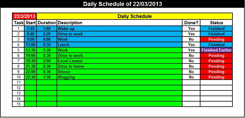 Daily Schedule Charts My Engineering World – Daily Task Sheet