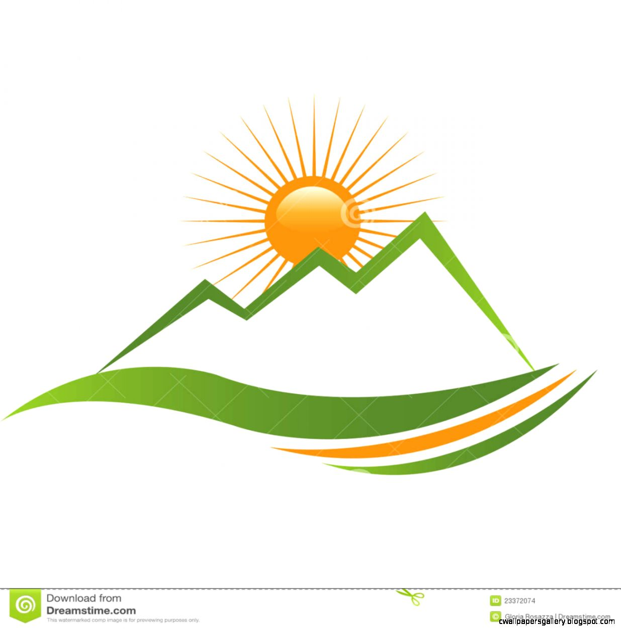 Mountain Sunrise Logo Stock Photo   Image 29975220