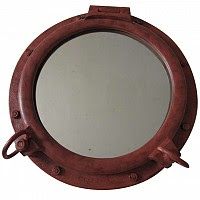 porthole mirror red