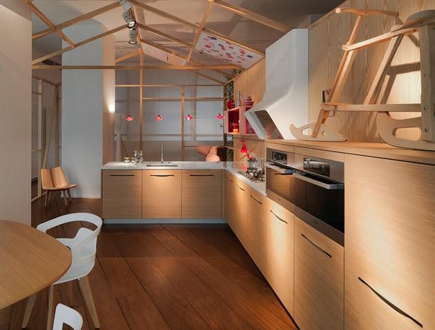 desain ruang dapur cantik dan minimalis dari kayu alami