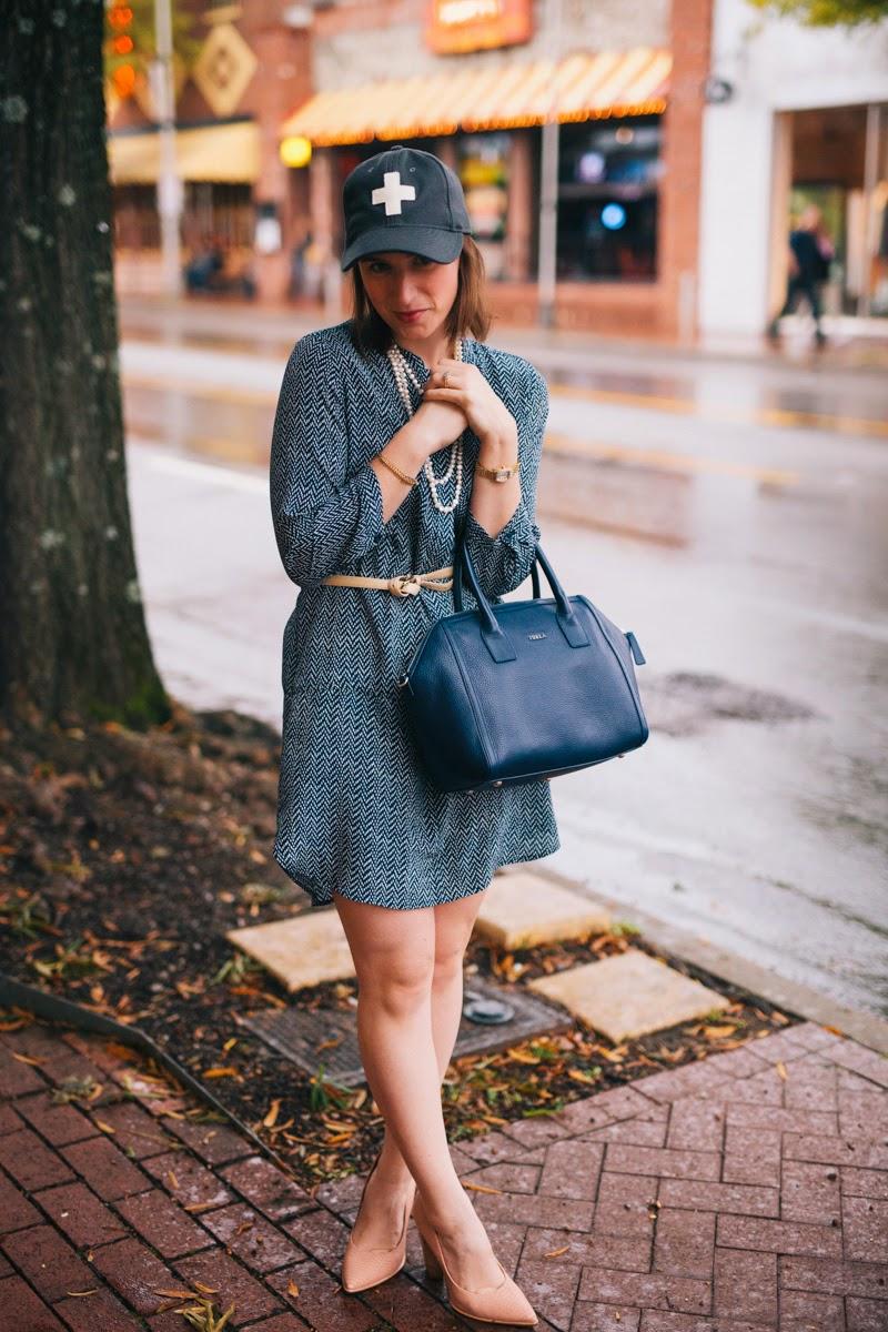 Piperlime, Blue Dress, Nude Heels, Nashville Blogger