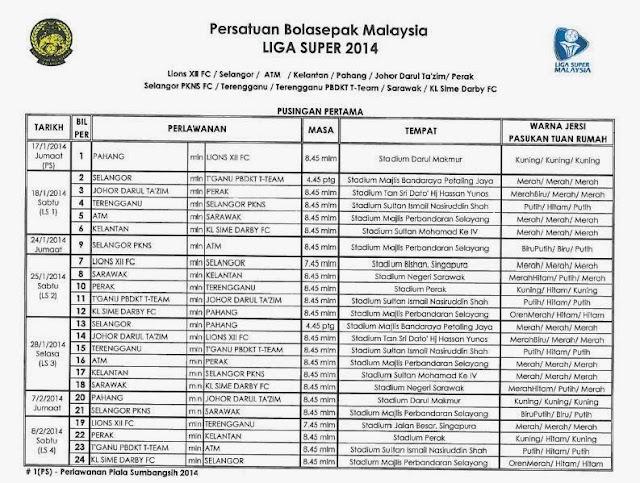 Jadual Liga Super Malaysia 2014