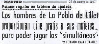 Crónica de Fernando Isaac Fernández en el diario Madrid sobre el III Torneo Nacional de Ajedrez de La Pobla de Lillet 1957 (1)