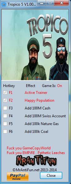 Tropico 5 V1.00 Trainer +5 MrAntiFun