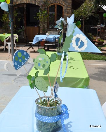 Amanda Sarver CoCaLo Turtle Reef Baby Shower Centerpieces