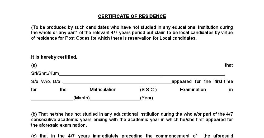 Residence Certificate - Telegram знакомства