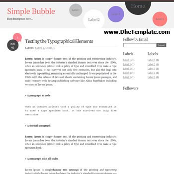 Simple Bubble blogger template. minimalist design template