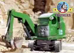 Thomas tank and friends character Alfie the green excavator job is at the Sodor Construction Company