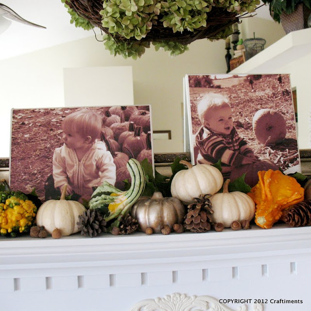 Craftiments:  Kids first pumpkin patch visit photos decoupaged to canvas