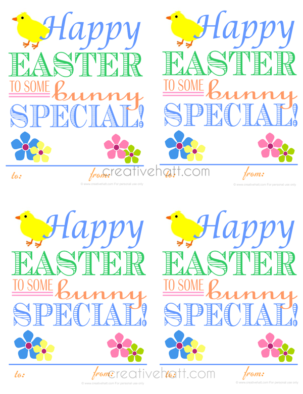 Creativehatt free easter printables gift tags and treasurer happy easter to some bunny special gift tags free printables negle Images