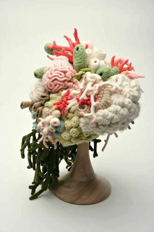 crochet art, crocheted coral hat by Helle Jorgensen