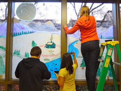 winter window painting with kids