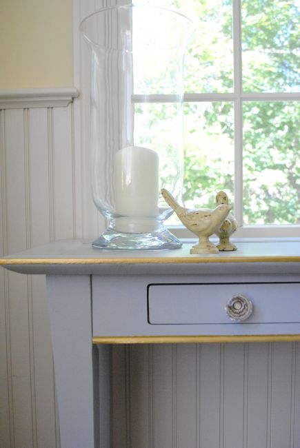 Grey Console Table With Gilded Detail