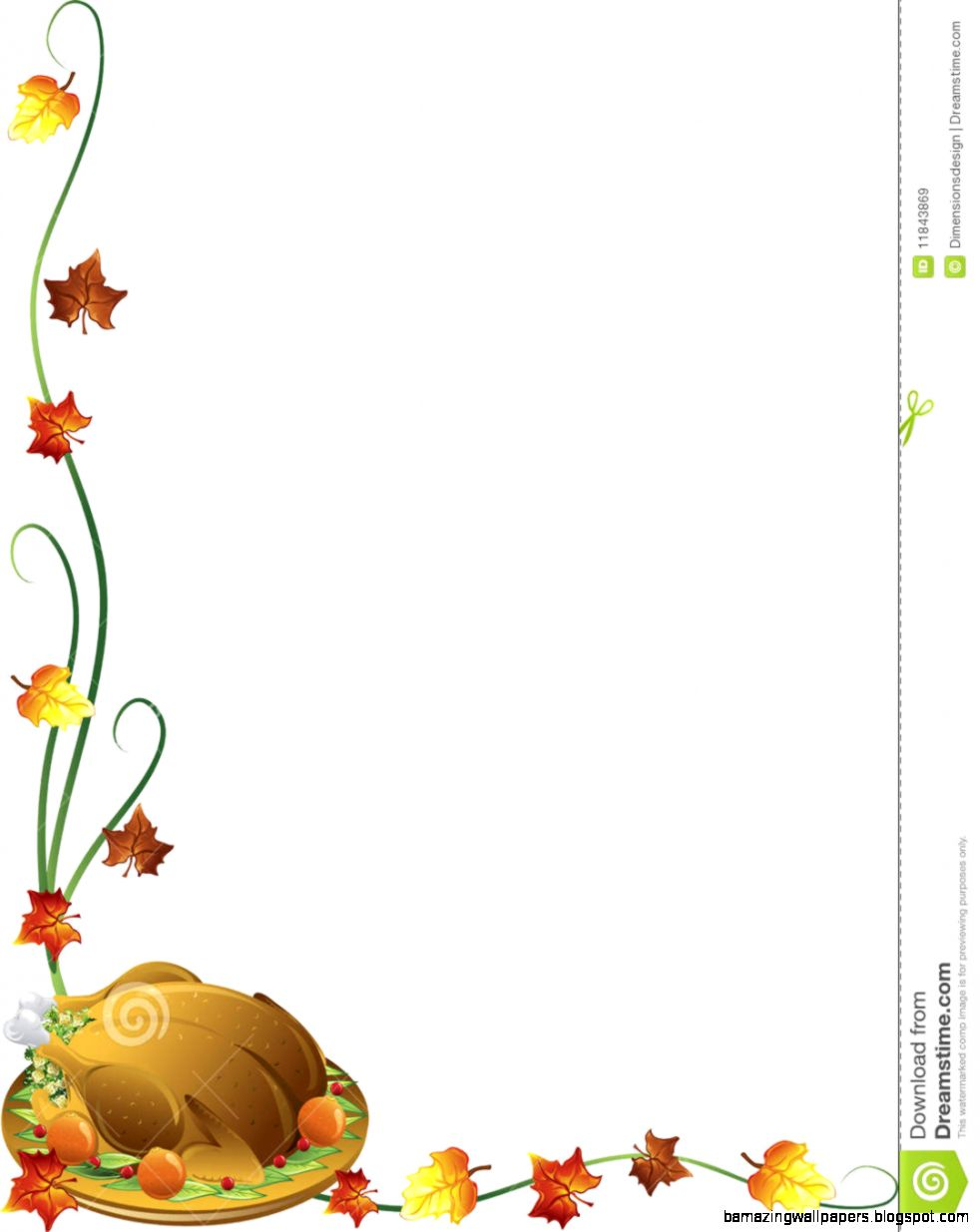 Thanksgiving Turkey Border Royalty Free Stock Images   Image 11843869