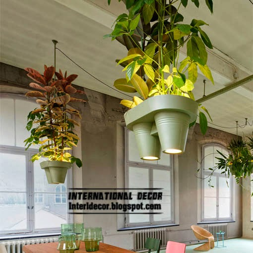 Ceiling lamp with hanging baskets