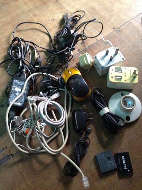old wires, mouse, plugs