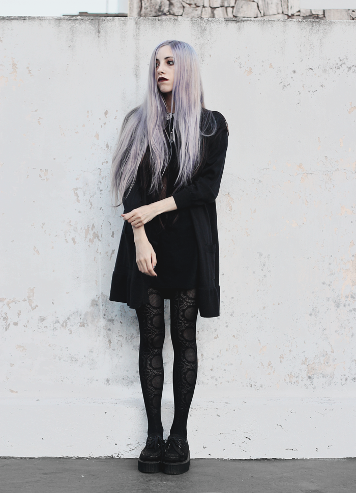 black + outfit + tights + lilac + hair + gothic