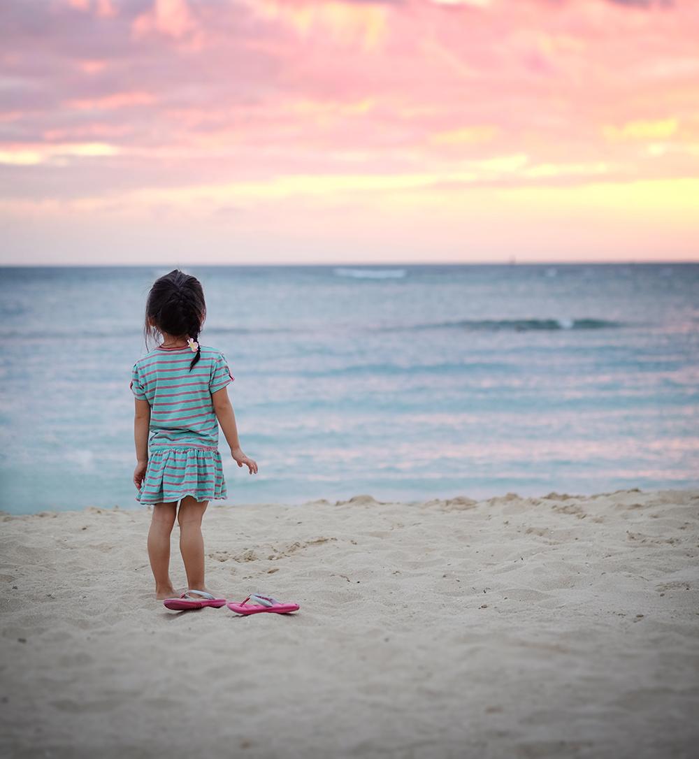 Andrea watching sunset at Hilton Hawaiian Villege, Honolulu