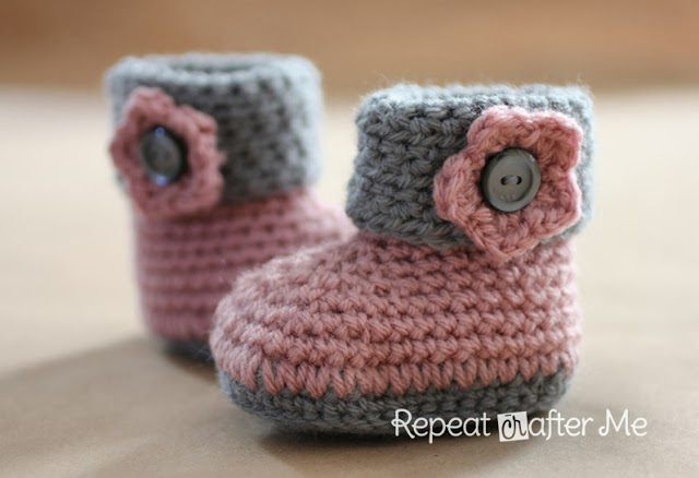 All Free Crochet Baby Booties Patterns : Steek voor steek: Babyschoentjes