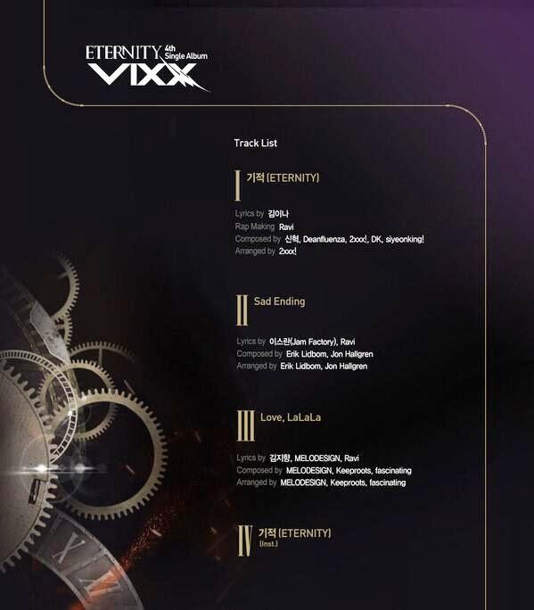 vixx release tracklist for eternity daily k pop news