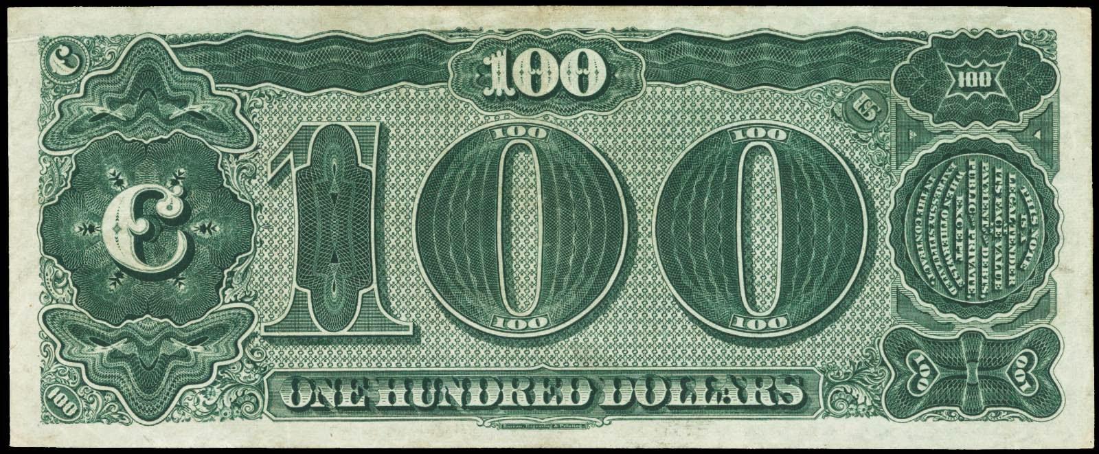 1890 100 Dollar Treasury Coin Note Watermelon