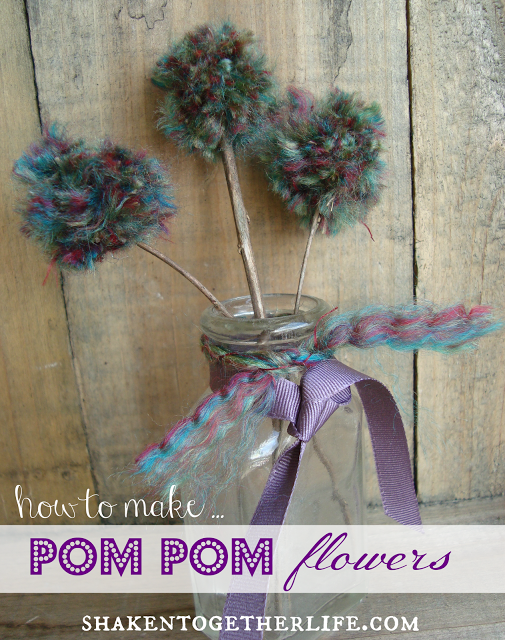 Pom Pom Flowers In A Mason Jar