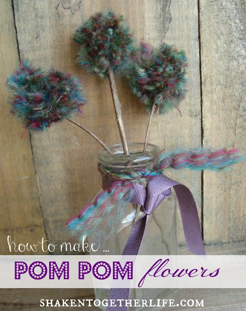 Pom Pom Flowers In A Mason Jar