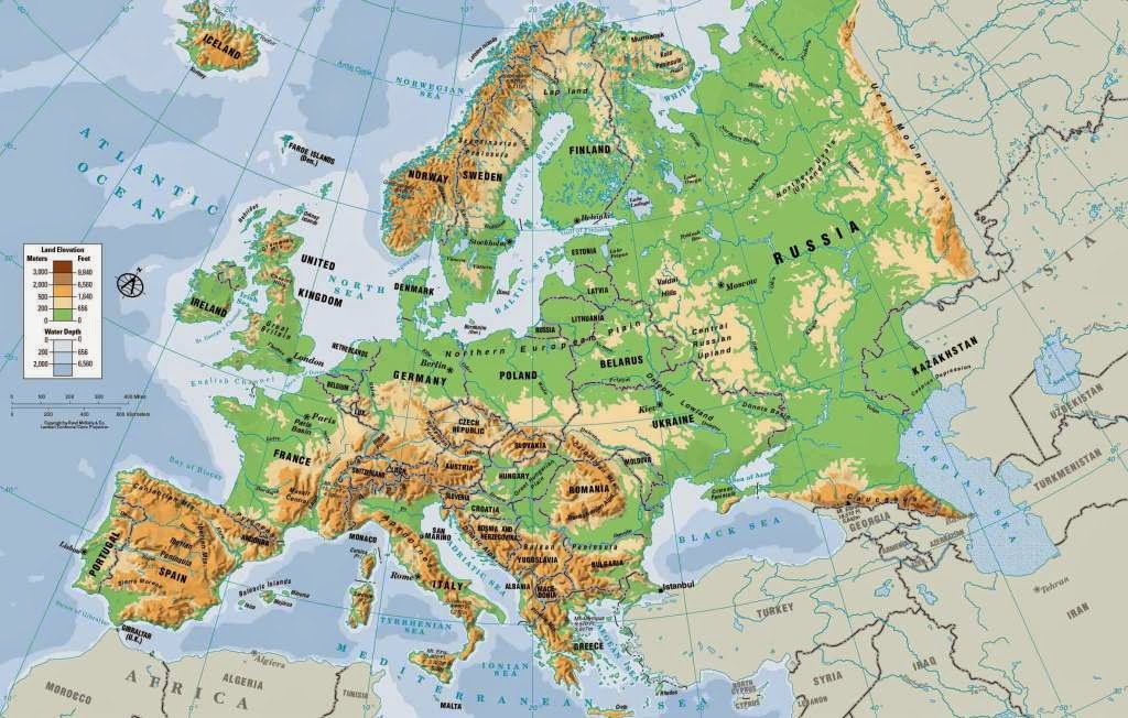 Physical Maps of Europe Free Printable Maps