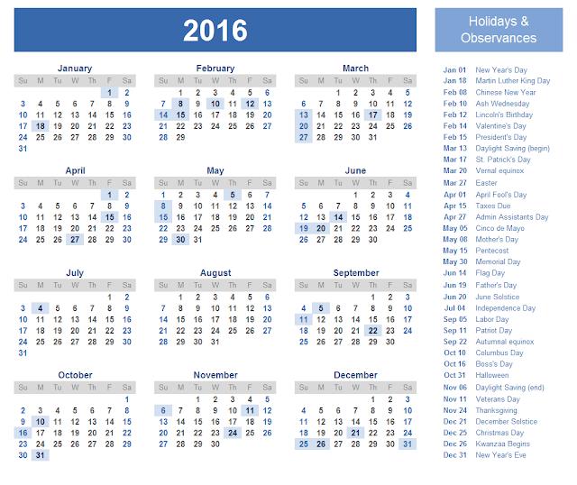 2016 Calendar with Catholic (Christian) Holidays