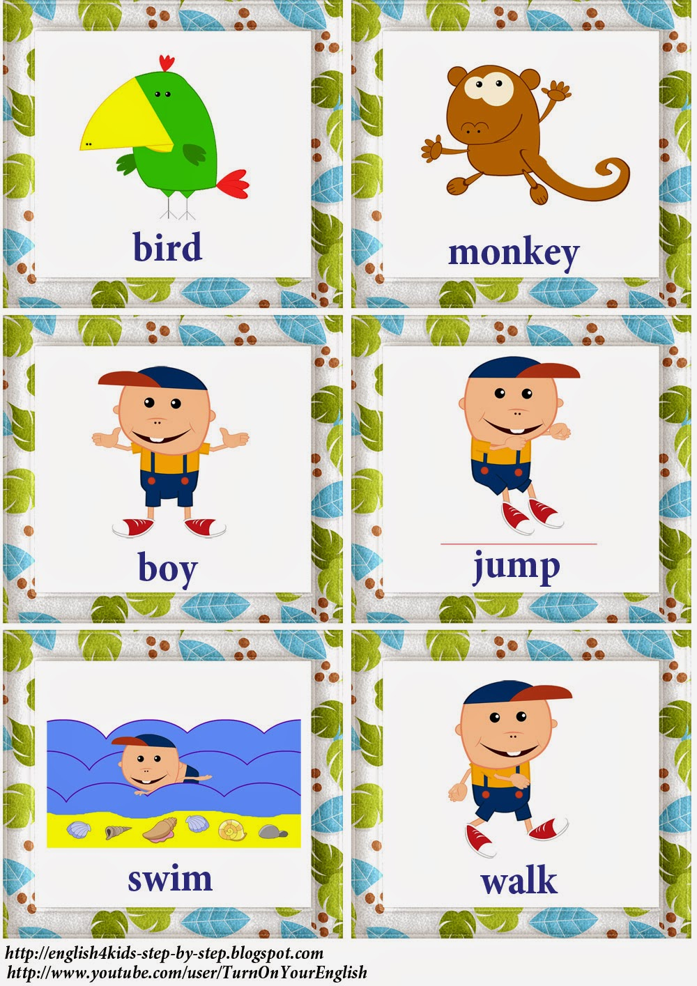 jungle animals action verbs flashcards - Action Berbs