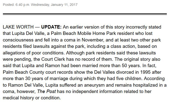 RETRACTION—Lake Worth story in the Post: