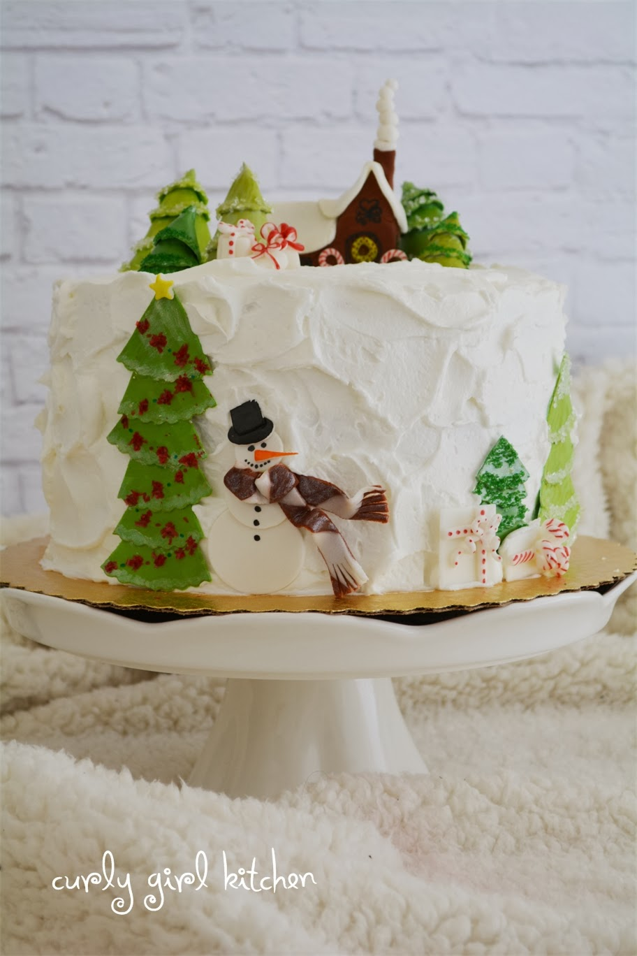 Curly Girl Kitchen Winter Scene Christmas Cake