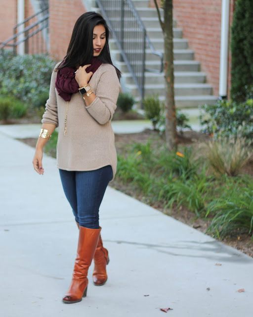 clarks indigo boots, paige denim, vera bradley, vera bradley jewelry, vera bradley tassle necklace, brown hm sweater, maroon scarf, fall fashion 2015
