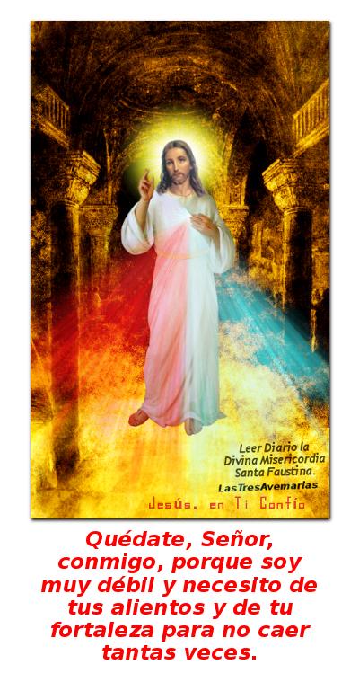 imagen con jesus misericordioso abajo se le ruega que se quede con nosotros