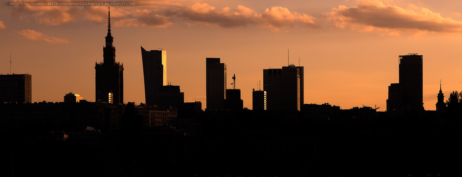 Silhouettes of skyscrapers in Warsaw