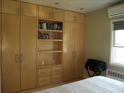 ... wall units 5th Avenue Collection bedroom armoire in soft Merlot finish