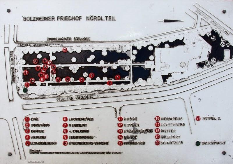 Plan der Grabanlagen des Golzheimer Friedhofs, nördlicher Teil