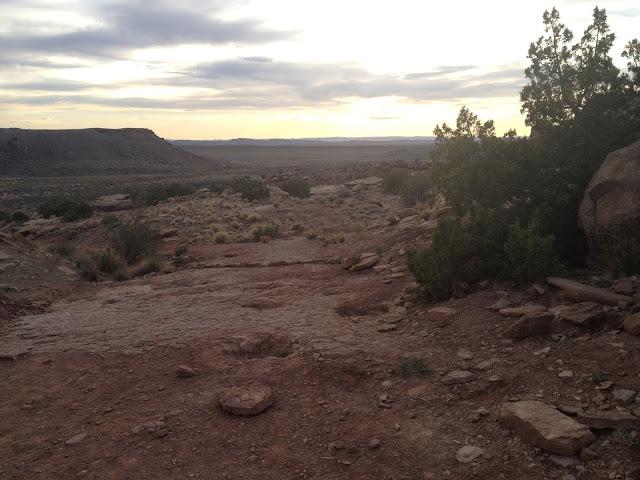 Fossilized Dinosaur Footprints at Sunset Near Moab Utah