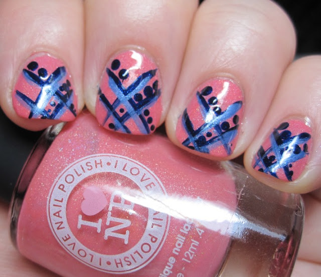 I Love Nail Polish in Grande Sunset with blue crosshatch and dots