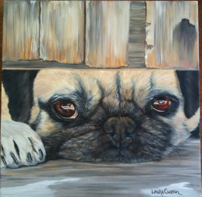 Pug - Oil on Canvas  by Laura Curtin
