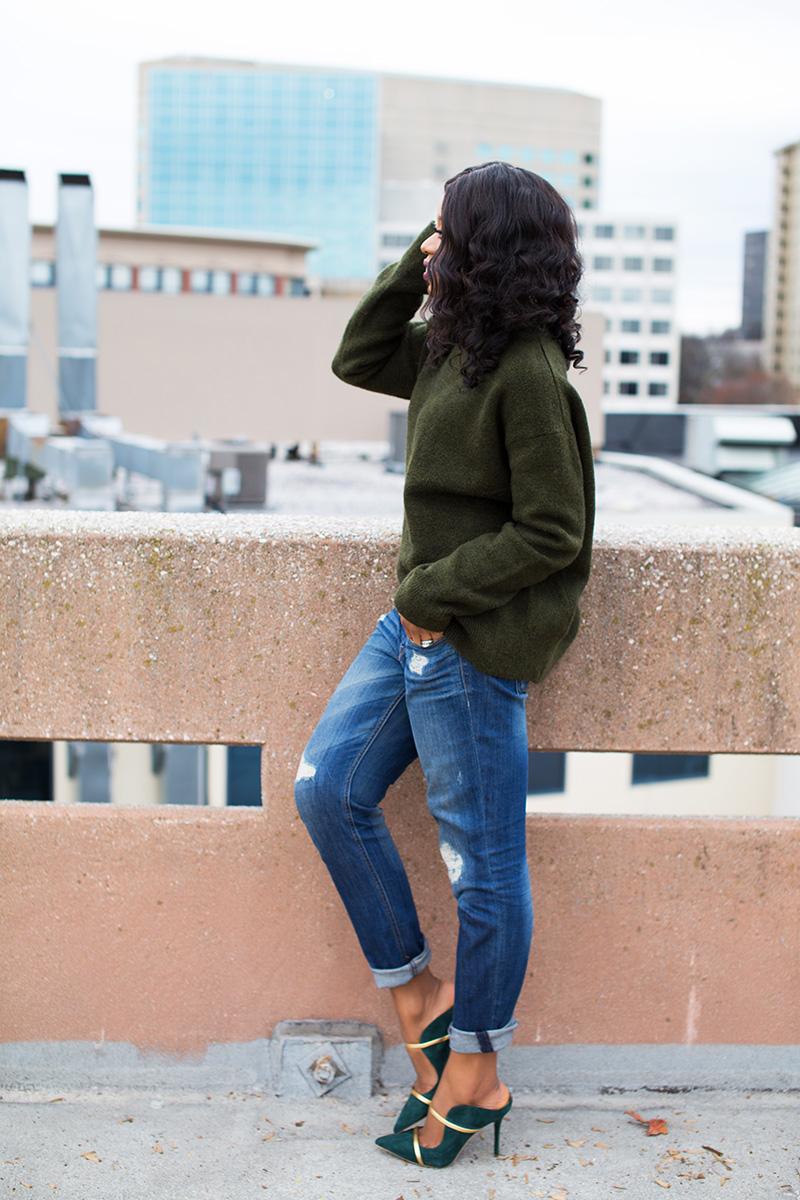 chunky sweater, boyfriend jeans, malone souliers www.jadore-fashion.com