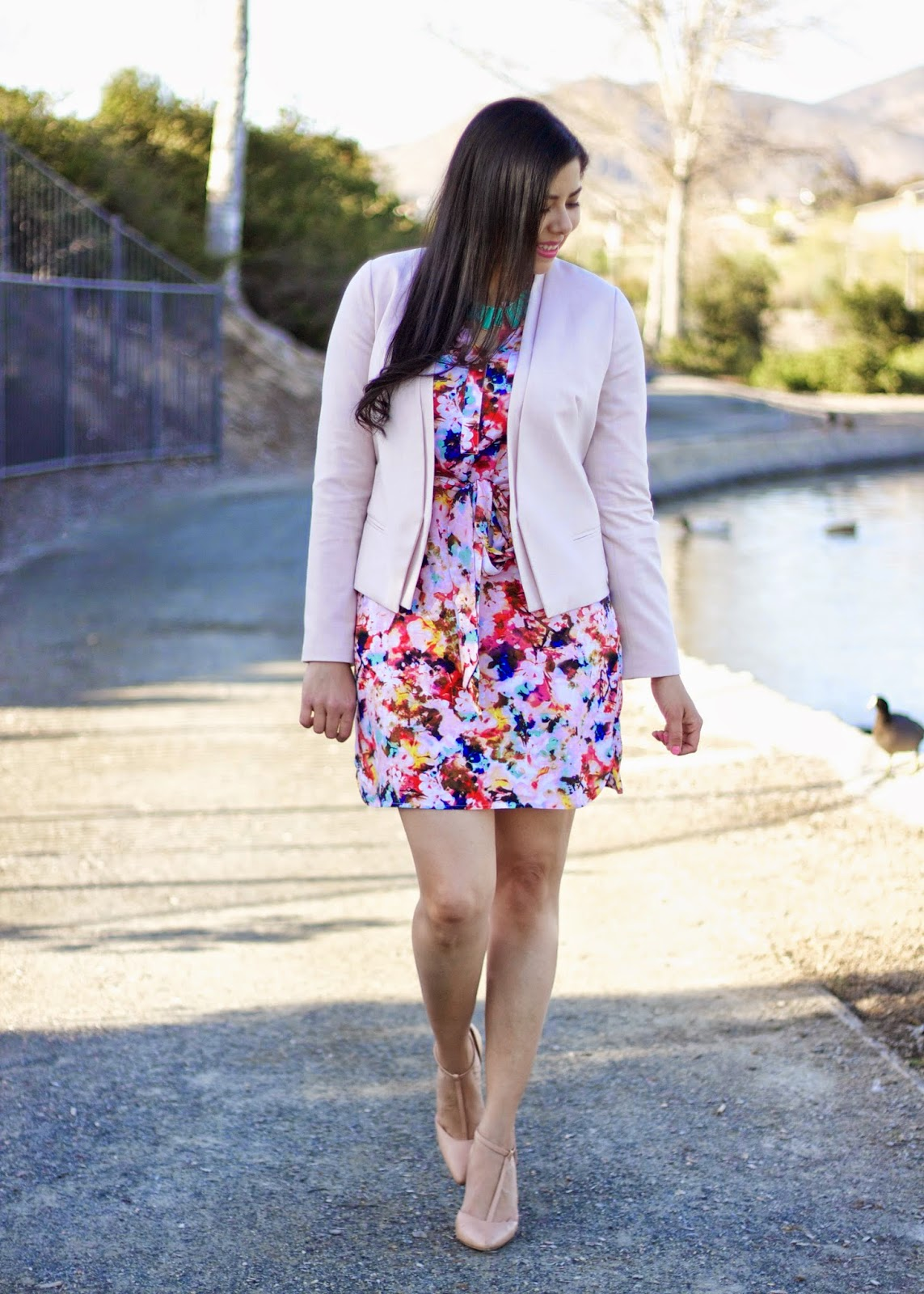 Sleeve floral print dress, pops of teal, pop of color in an outfit, perfect outfit for spring
