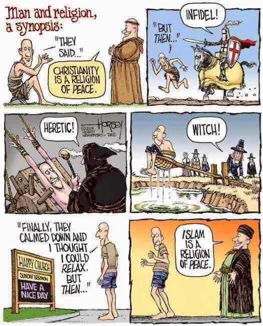 Funny Man Religion Synopsis Cartoon - Christianity Islam Religion of Peace