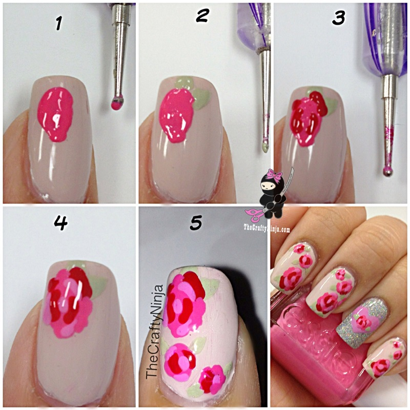 Pink Rose Nail Art Tutorial - Emaggy