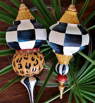 hand painted checked ornaments